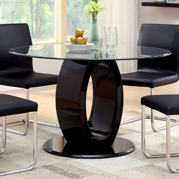 Orten Contemporary Round Dining Table, Black