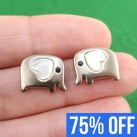Baby Elephant Shaped Animal Stud Earring in Dark Silver with Heart Shaped Ears