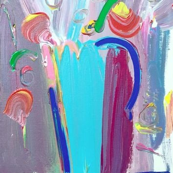 Flower Vase, Original Acrylic Painting, Peter Max