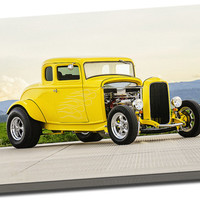 Classic Yellow Hot Rod by Lisa Johnson on Mirror Wrapped Premium Canvas