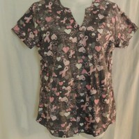 Barco Top Size Small Scrubs Pink Ribbon Print