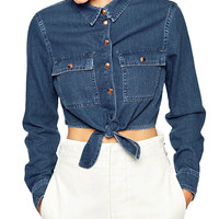 Blue Self-Tie Long Sleeve Cropped Denim Shirt