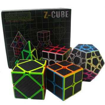 5pcs/set 2x2x2 3x3x3 4x4x4 Magic Speed Cube Set Bandaged Cube Educational Toys Puzzle Megaminx Skew Cube Gifts for Kids or Adult