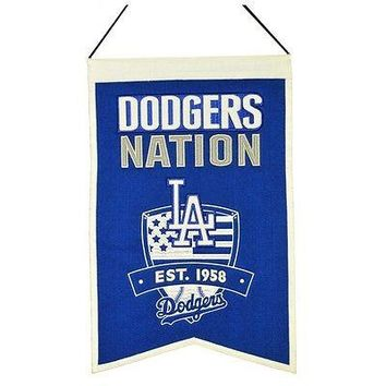 Los Angeles LA DODGERS NATION 14X21 Wool Embroidered MLB Banner
