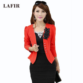 women blazers and jackets 2015 Plus Size 5XL Ladies Suit Blazers Feminino Blaser Womens Yellow/White/Black/Pink Blazer Female