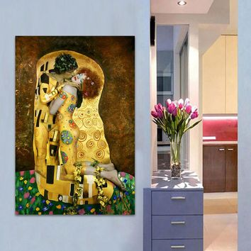HDARTISAN Canvas Art Wall Pictures For Living Room Gustav Klimt Sytle The Kiss Photo Oil Painting Home Decor Printed