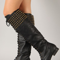 Pink Duchess Jillian-2 Studded Spike Lace Up Boot
