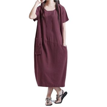 Women Short Sleeve Cotton Linen Loose Pocket Long Bohe Dress Casual Kaftan