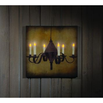 LIGHTED TIN PUNCH CHANDELIER CANVAS