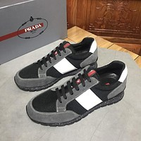 PRADA Men's Suede Leather Fashion Low Top Sneakers Shoes