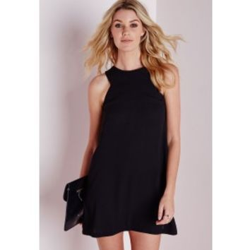 Crepe Sleeveless A-Line Shift Dress Black - Dresses - Shift Dresses - Missguided