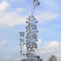 Spiral tall recycler rig with glass diffusion inline perc rig with bowl