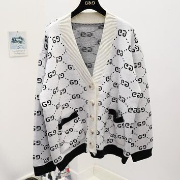 GUCCI Autumn Winter Fashionable Women Retro Casual V Collar Knit Cardigan Jacket Coat White
