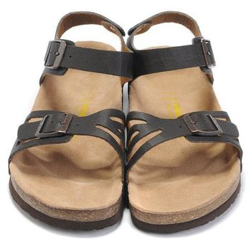 Birkenstock Leather Cork Flats Shoes Women Men Casual Sandals Shoes Soft Footbed Slippers-107