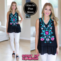 sweet little thing sleeveless embroidery top in black - Google Search