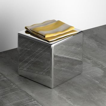 Nino Cube Backless Stool Bench Stainless Steel Polished 15-3/4 in.