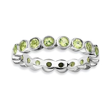 Sterling Silver Stackable Expressions Bezel Set Peridot Eternity Ring
