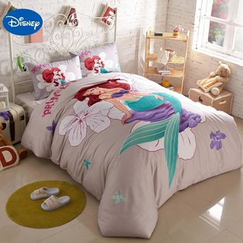 Cool Disney Cartoon Little Mermaid Printed Bedding Sets for Childrens Girls Bedroom Decor Cotton Bed quilt duvet covers Queen King szAT_93_12