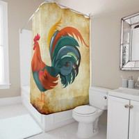 rooster on parchment shower curtain
