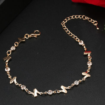ns32 Good sales free shipping cheap new gold-plated fashion romantic womens bracelets anklets Austrian crystal