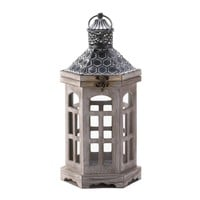 Hex Top Wood Candle Lantern