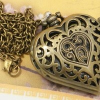 Vintage Heart Pendant Watch Necklace with 15 Chain in Antique Gold Finish