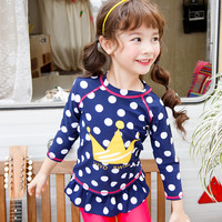 2017 Swimming Suit Kids Girls Two Pieces Swim Suit Cute Big Dots Design Summer Long Sleeve Swimwear with Swimming Cap Hot Sale
