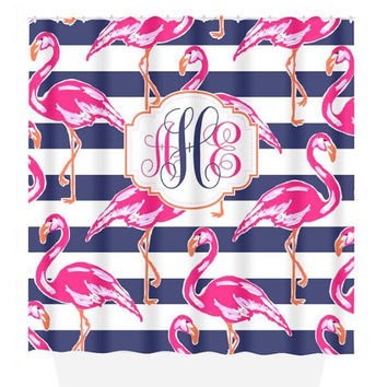 Flamingo SHOWER CURTAIN, Lily Flower, Hot Pink Navy Stripe, Dorm Custom MONOGRAM Personalized, Girl Sister Decor, Towel, Plush Bath Mat