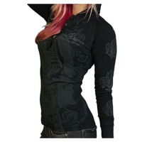 Rebel Spirit Women's Fleur De Lis Black Henley with Rhinestones