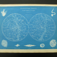 1883 original old poster pictures of the sky hemisphere stars star chart constellations sterrenkaart sterrenbeelden 23x33cm/9x13''