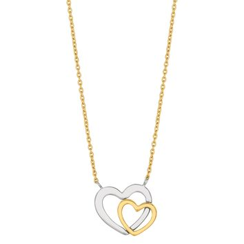 "14k 2 Tone White And Yellow Gold Double Heart Pendant On 18"" Necklace"