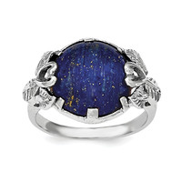 Sterling Silver Rhodium-plated w/Lapis Lazuli Ring