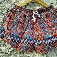 Shorts Colorful Printed Pattern Ethnic Bohemian style Boho Hobo For Beach Summer clothes Hippie Tribal Clothing festival Cute Men in red