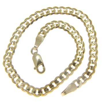 SOLID 14K YELLOW GOLD MADE IN ITALY CUBAN CURB LINK BRACELET 7 INCH 3.80MM
