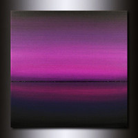 30x30 Painting : Square Abstract Magenta Horizon
