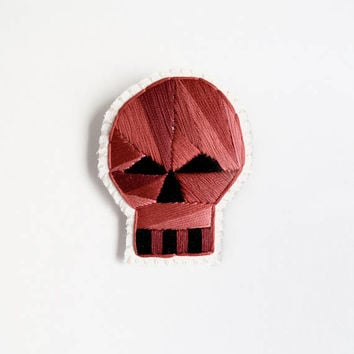 Skull brooch with red geometric design hand embroidered on cream muslin and cream felt Halloween Day of the Dead E3