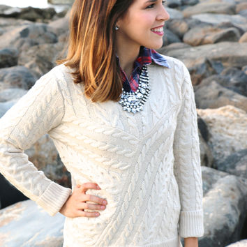 Lace Cable Knit Sweater in Cream