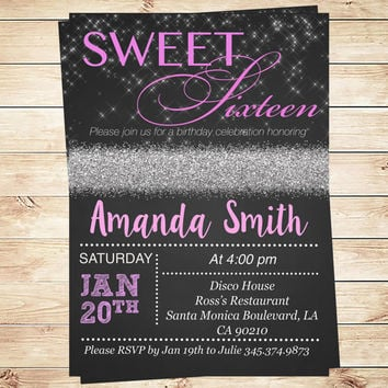 Lights Sweet 16 Birthday Party Invitation, lights sweet invitations black and pink, Personalized Sweet 16 invitations, Art Party Invitation