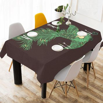 "Cotton Linen Tablecloth 90""x60"" Bird"