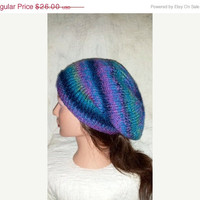 EtsyCIJ15 Hand Knit Purple and Green Hipster - Slouchy Beanie - Purple Beret - Knit Hat - Women's Hat - Women's Accessories