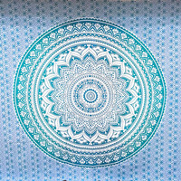 King Size Wall Hanging Psychedelic Chakra Meditation Green Ombre Bo Ho Beach Blanket Tapestry Bedspread Dorm Room Decor QMN505