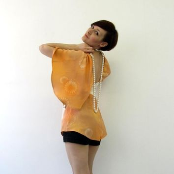Kimono Orange Asymmetrical Silk wrap top by PyxusPassionProject