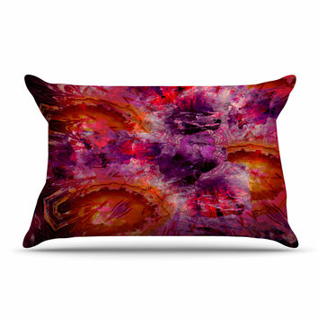 """Suzanne Carter """"Gem Stone"""" Red Pink Pillow Case"""
