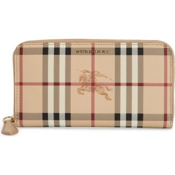 Burberry Elmore Haymarket Check Coated Canvas & Leather Zip Around Wallet | Nordstrom