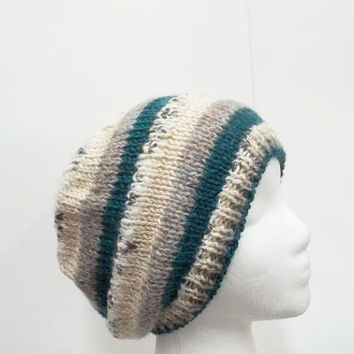 Beanie hat  multicolor  hand knitted  5270