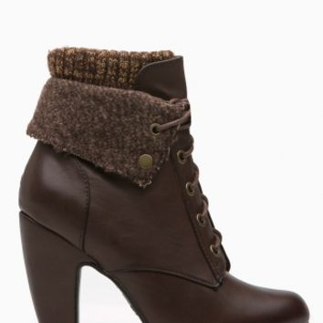 Brown Faux Leather Chunky Fold Over Lace Up Booties @ Cicihot. Booties spell style, so if you want to show what you're made of, pick up a pair. Have fun experimenting with all we have to offer!