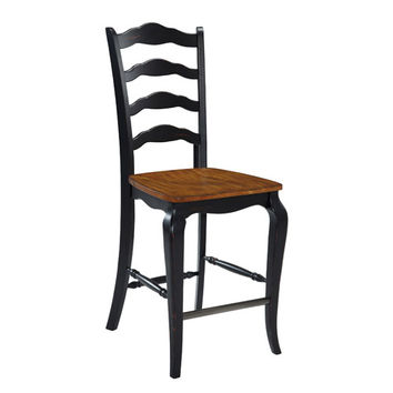 Home Styles Furniture 5519-88 The French Countryside Oak and Rubbed Black 46-Inch Counter Stool