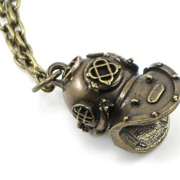 Nautical Steampunk Necklace - Holy Diver - 20,000 Leagues Under the Sea Inspired Vintage Diving Helmet Replica - Solid Brass - By Ghostlove
