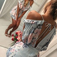 Floral Backless Spring Romper