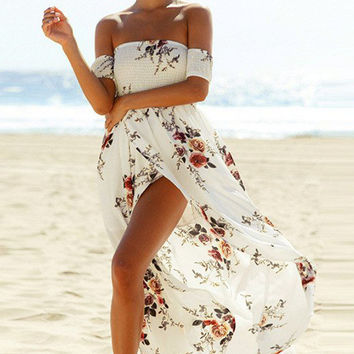 Smoked Off The Shoulder Slit White Floral Maxi Dress